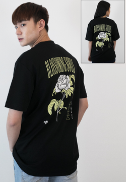 OVERSIZED BLOSSOMING SOULS FLORAL PRINT COTTON JERSEY TSHIRT - Ohnii Official Site