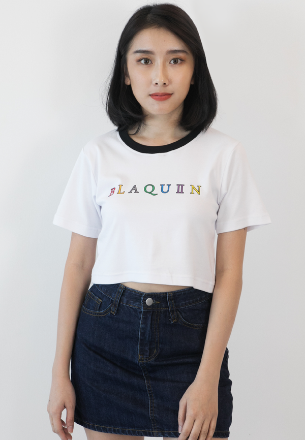 BLAQUIIN RAINBOW LOGO RINGER CROP TOP (WT) - Ohnii Official Site