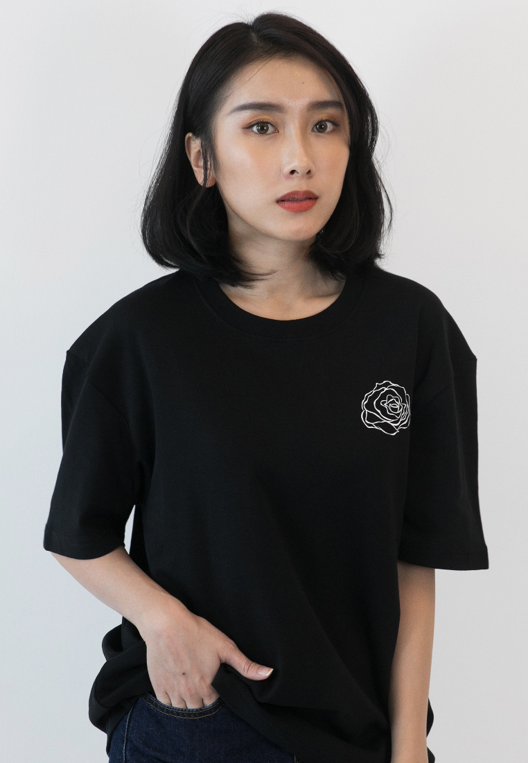 OVERSIZED STAY WILD ROSE PRINT COTTON JERSEY TSHIRT - Ohnii Official Site