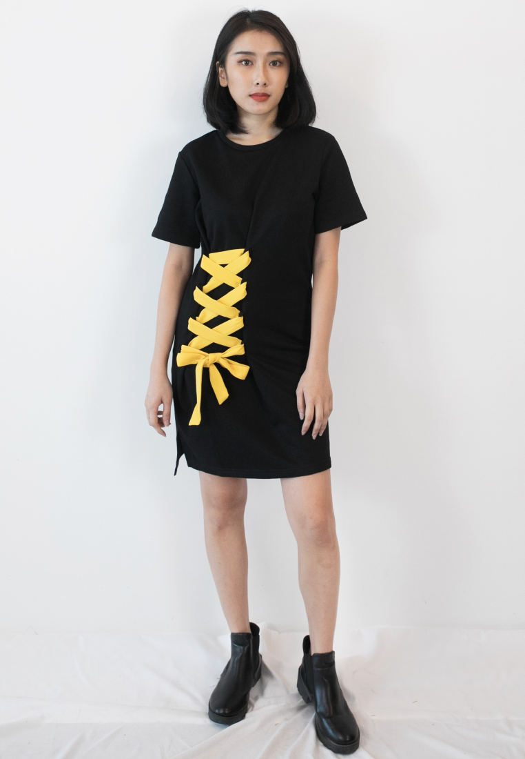 BLAQUIIN Laced Up Side Tied Women Cotton Tee Dress - Ohnii Official Site