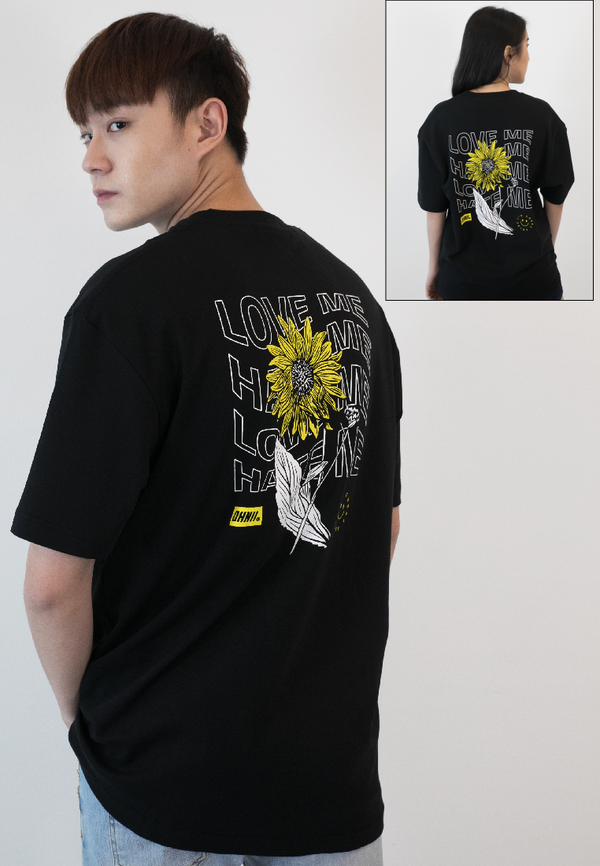 OVERSIZED I'M GONNA SHINE FLORAL PRINT COTTON JERSEY TSHIRT - Ohnii Official Site
