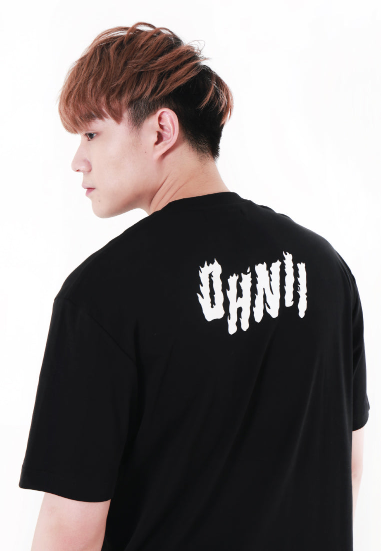 OVERSIZED LOGO FLAME PRINT COTTON JERSEY TSHIRT V2 - Ohnii Official Site