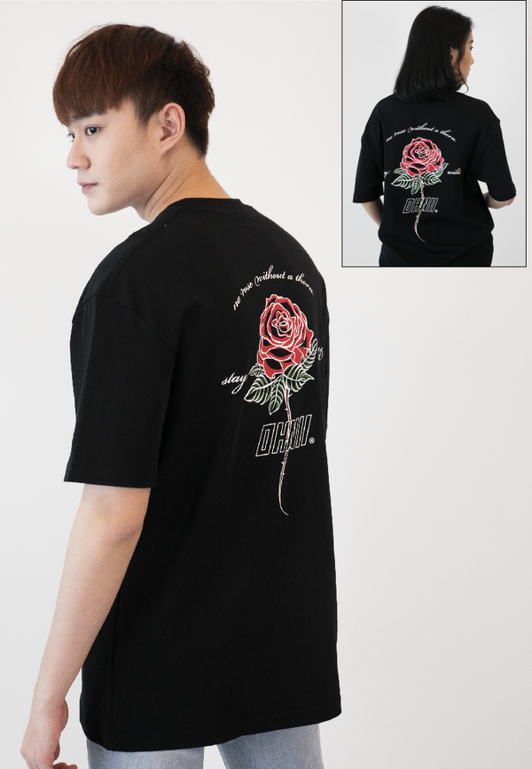 OVERSIZED ROSE PRINT COTTON JERSEY TSHIRT - Ohnii Official Site