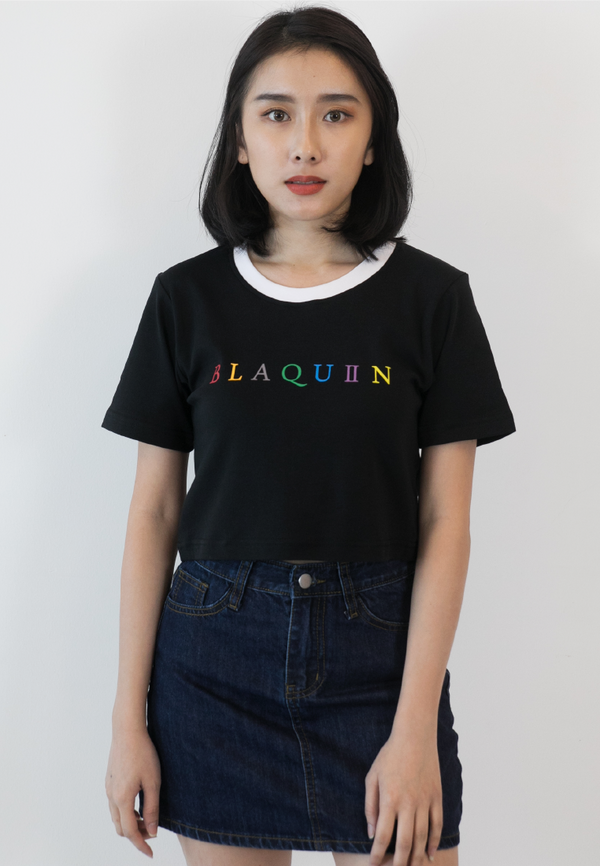 BLAQUIIN RAINBOW LOGO RINGER CROP TOP (BL) - Ohnii Official Site