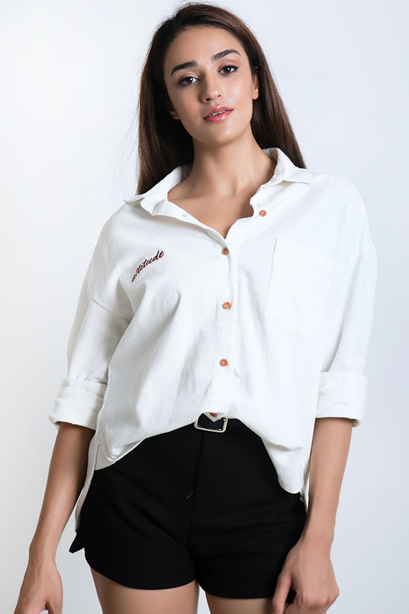 "BLAQUIIN ""ATTITUDE"" EMBROIDERY WOMEN LONG SLEEVE SHIRT(WHITE) - Ohnii Official Site"