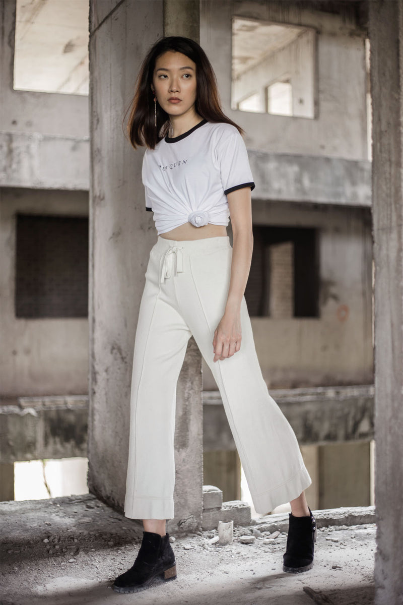 BLAQUIIN CUSTOMADE SKINNY KNIT WOMEN CULOTTES (BEIGE) - Ohnii Official Site
