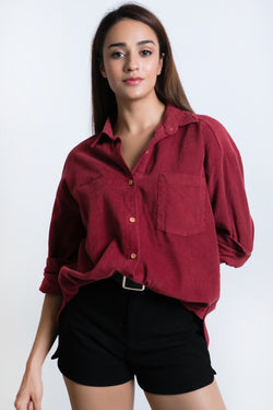 "BLAQUIIN ""ATTITUDE"" EMBROIDERY WOMEN LONG SLEEVE SHIRT(MAROON) - Ohnii Official Site"