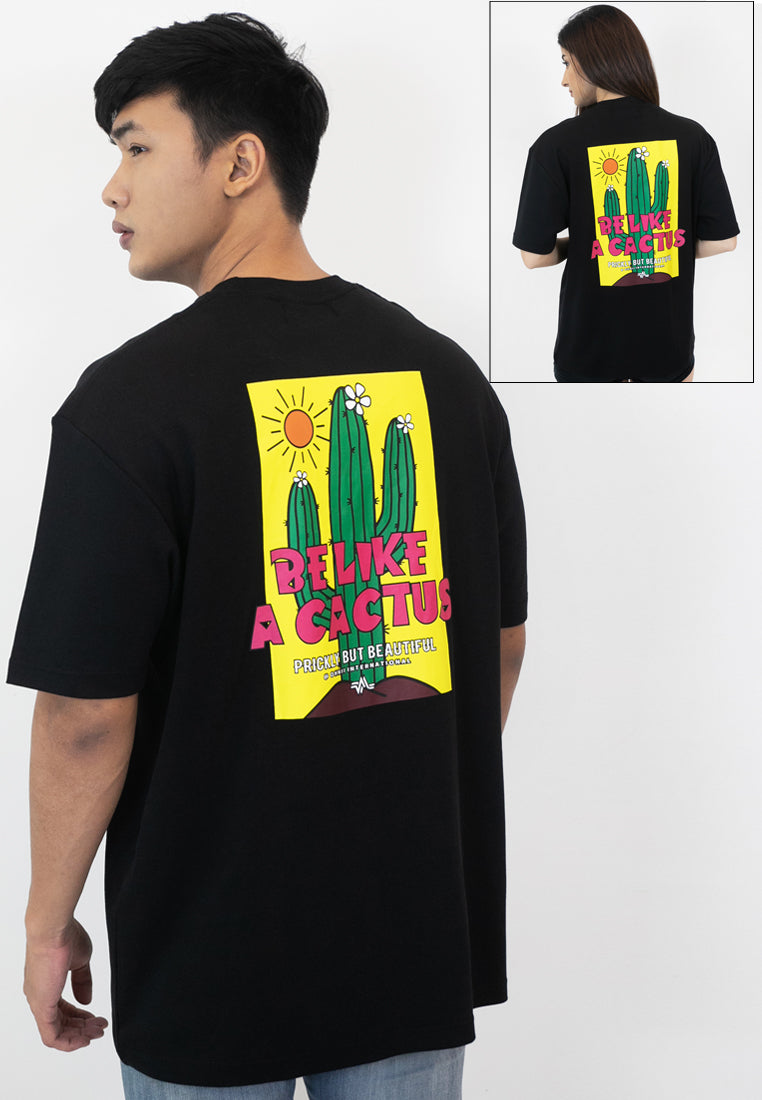 OVERSIZED BE LIKE A CACTUS COTTON JERSEY TSHIRT (BL) - Ohnii Official Site