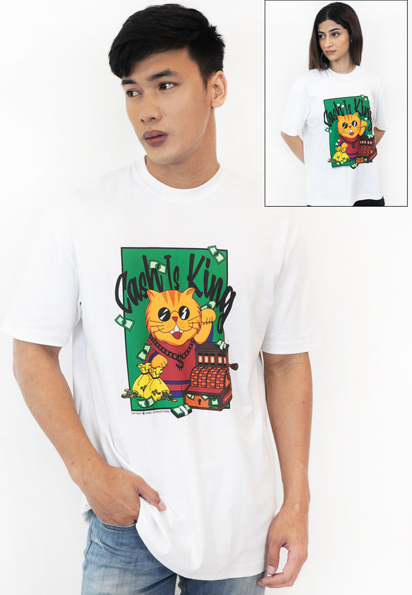 OVERSIZED CASH IS KING FORTUNE CAT COTTON JERSEY T-SHIRT