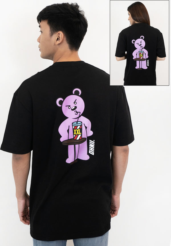 OVERSIZED HANGRY BEAR PRINT COTTON JERSEY TSHIRT