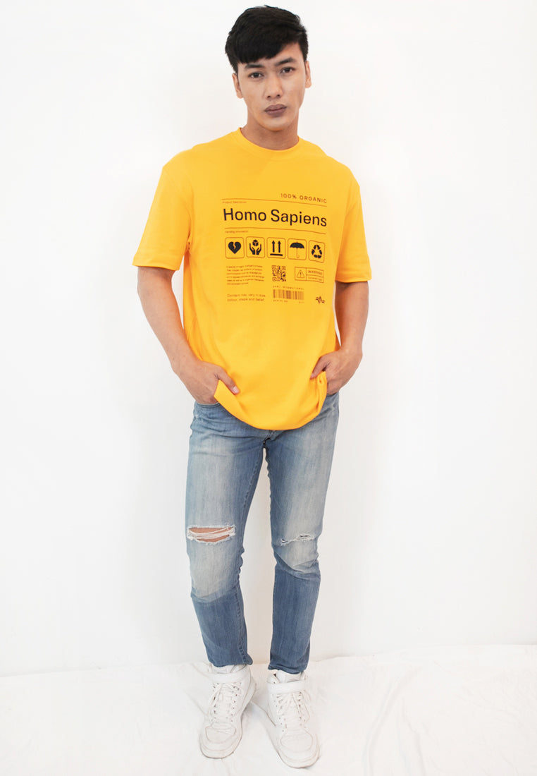 OVERSIZED HOMOSAPIEN PRINT COTTON JERSEY TSHIRT - Ohnii Official Site