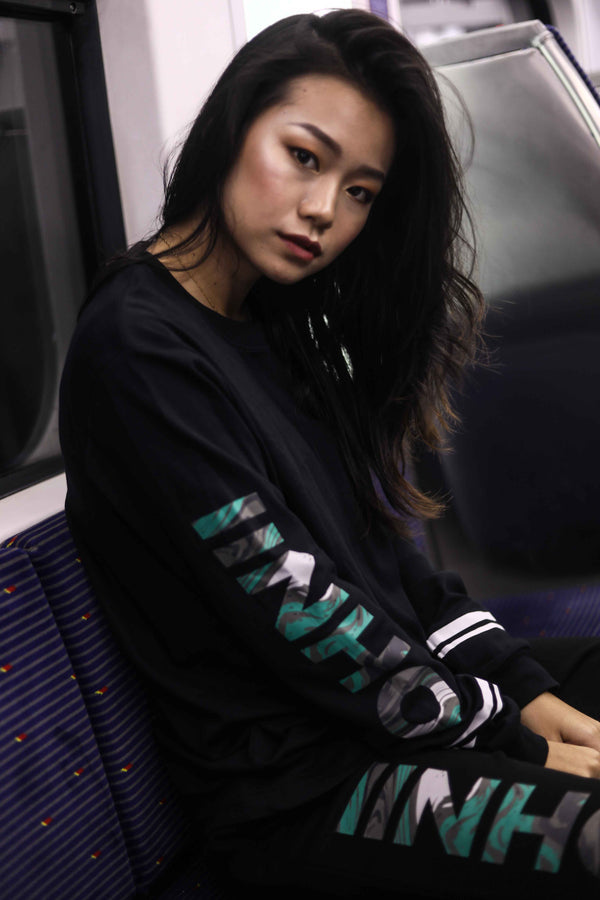 PRINTED TURQUOISE MARBLE LONG SLEEVE T-SHIRT - Ohnii Official Site