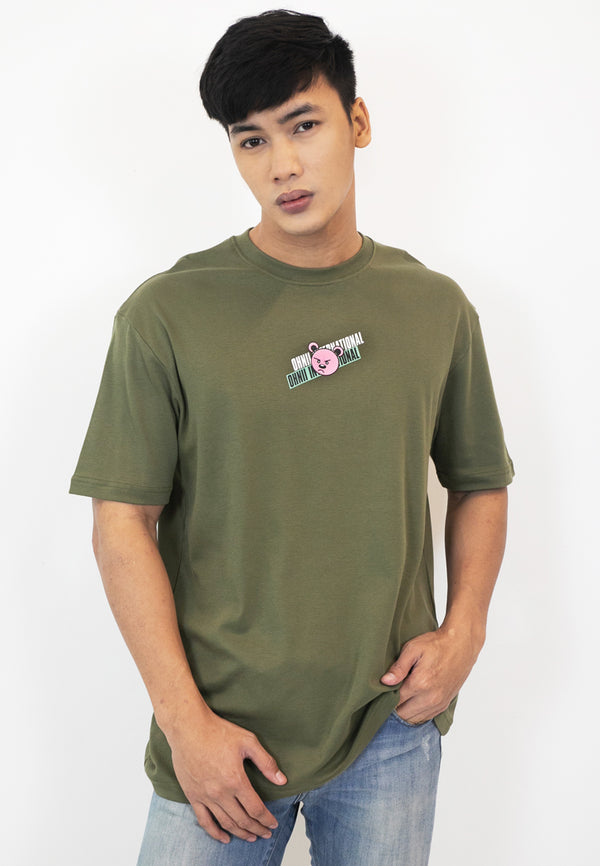 OVERSIZED INTERNATIONAL BEAR COTTON JERSEY TSHIRT (ARMY GREEN) - Ohnii Official Site