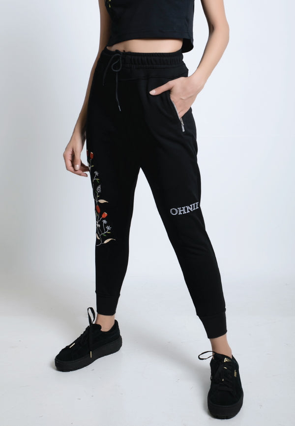EMBROIDERED WILD FLOWER JOGGER PANTS - Ohnii Official Site