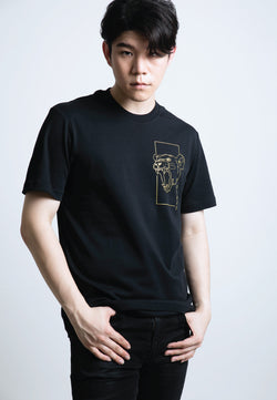 PRINTED MONOLINE FEARLESS LION T-SHIRT (GOLD PRINT) - Ohnii Official Site