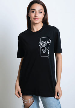 PRINTED MONOLINE FEARLESS LION T-SHIRT (WHITE PRINT) - Ohnii Official Site