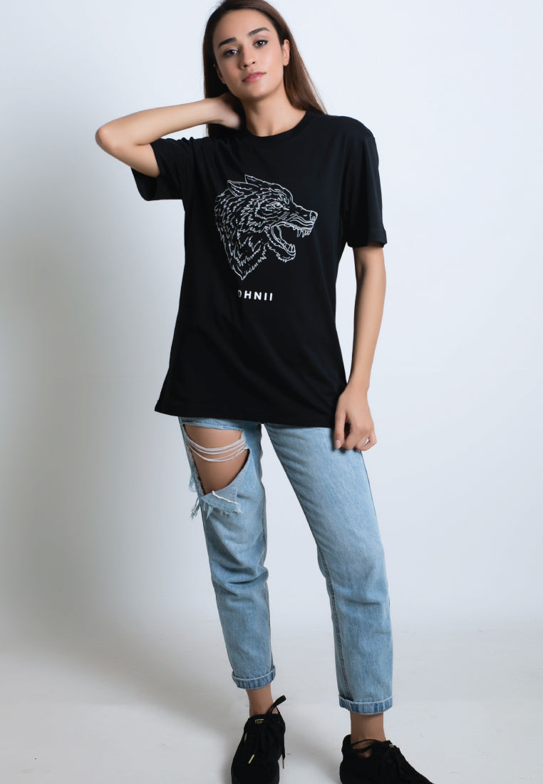 Fearless Wolf-Print Cotton Jersey T-Shirt - Ohnii Official Site