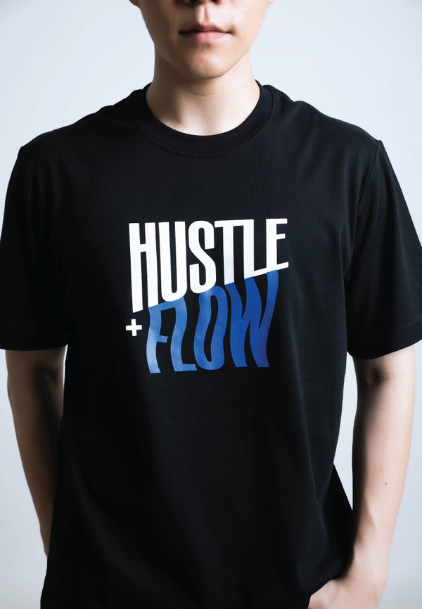 HUSTLE & FLOW PRINT COTTON JERSEY T-SHIRT (BLUE) - Ohnii Official Site