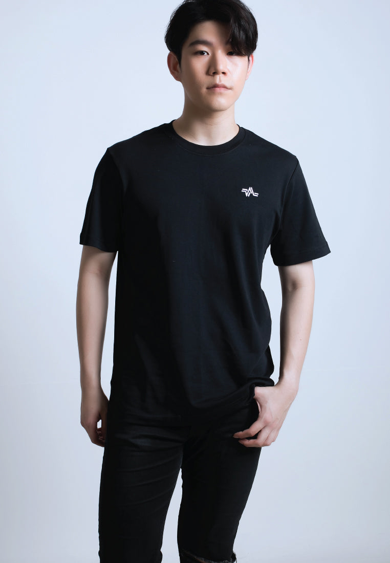 EMBROIDERED LOGOMARK COTTON JERSEY T-SHIRT (BLACK)
