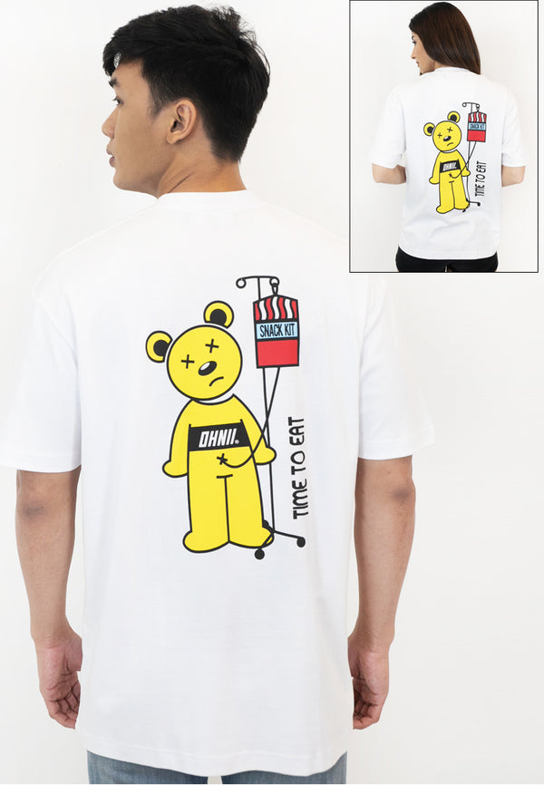 OVERSIZED TIME TO EAT BEAR PRINT COTTON JERSEY TSHIRT