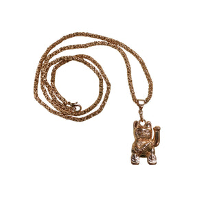 """Money Cat"" <br>Pendant & Rope Link Chain"
