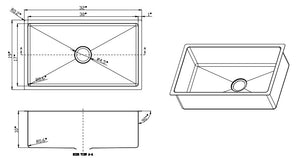 32 X 19 small radius sink Line drawing