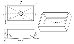 3321-7 Remodeling Apron Front Farmhouse Sink Line Drawing