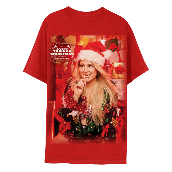 A VERY TRAINOR CHRISTMAS OVERSIZED RED TEE