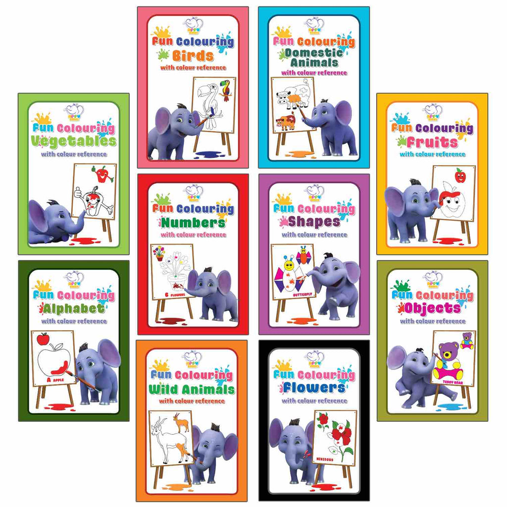 APPU Pocket Colouring Books for Kids - Set 1 - Combo Pack of 10