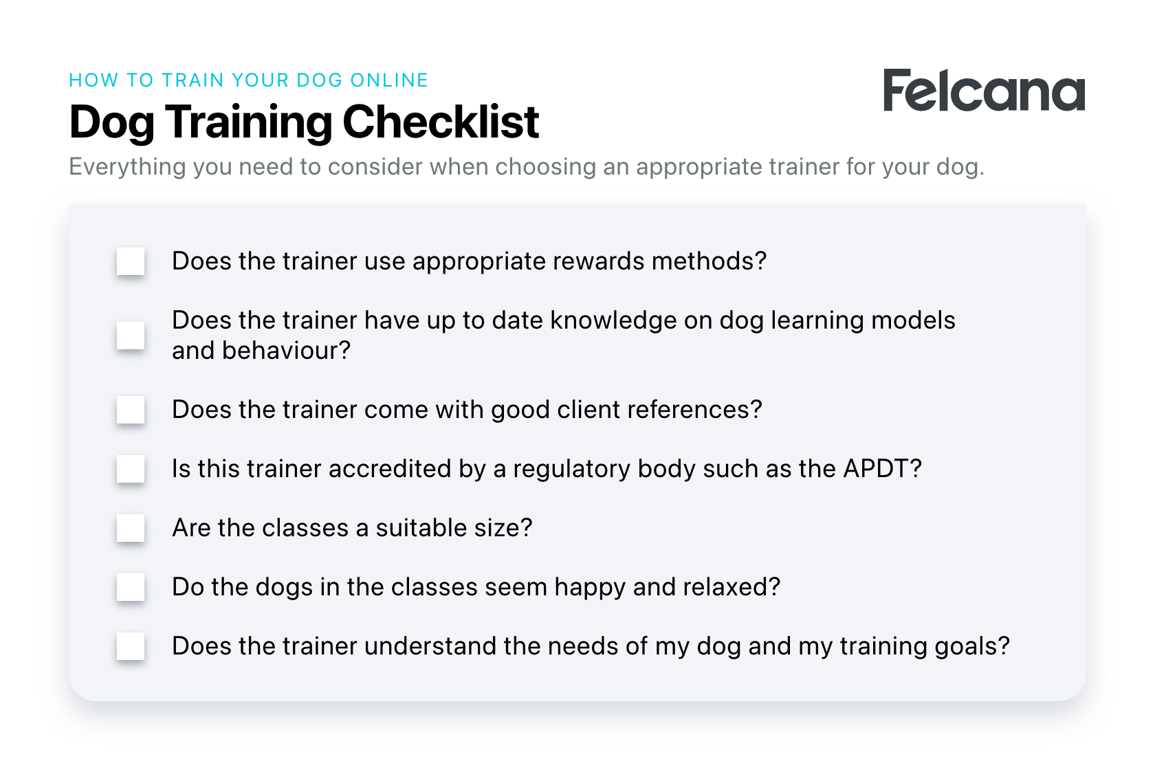 A comprehensive checklist of the key questions you should ask before choosing a dog trainer