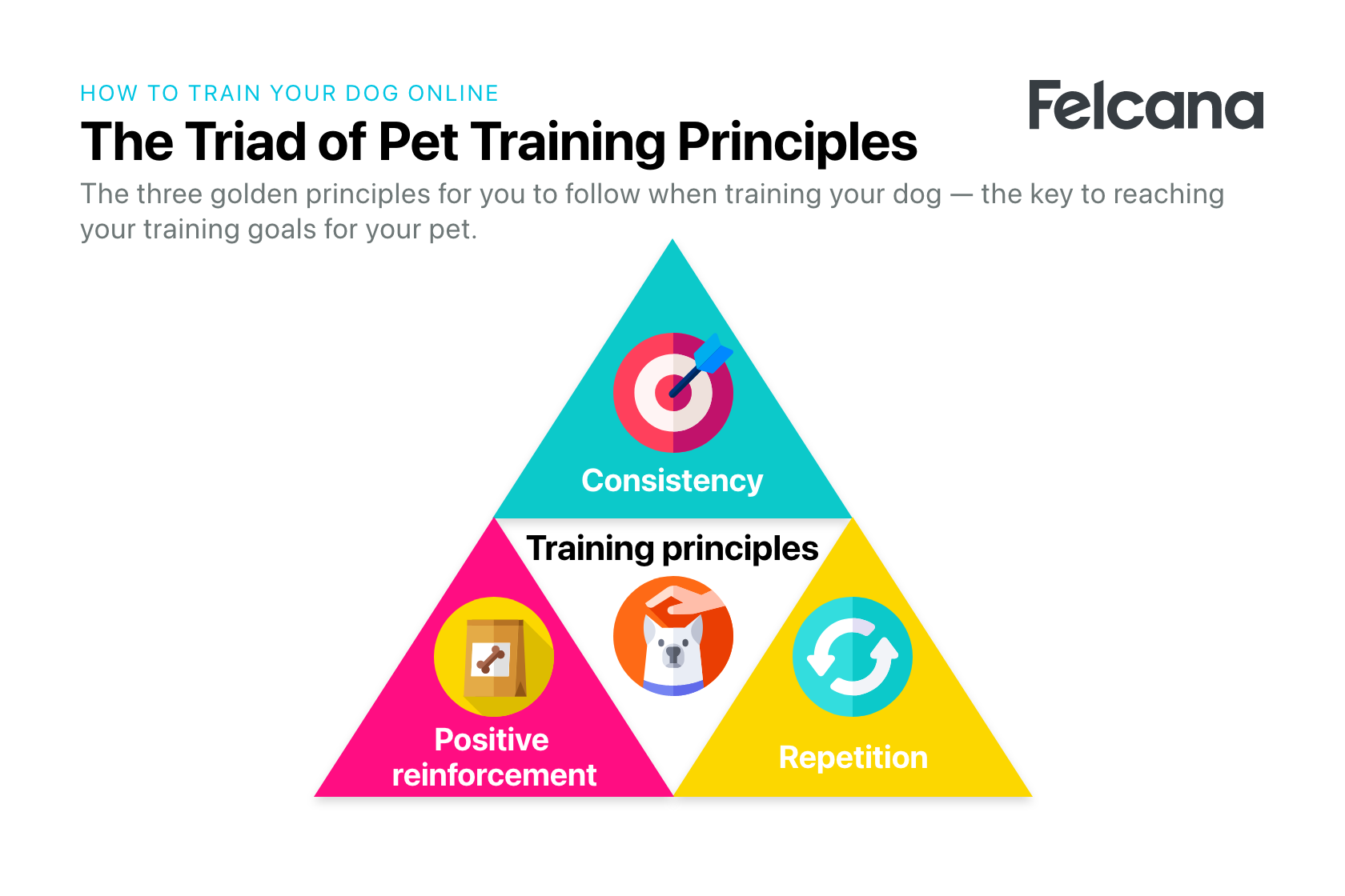 Pyramid of the three core principles for dog training