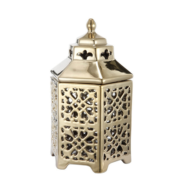 PERGODA GOLD CERAMIC LANTERN - Boutique Furniture Direct
