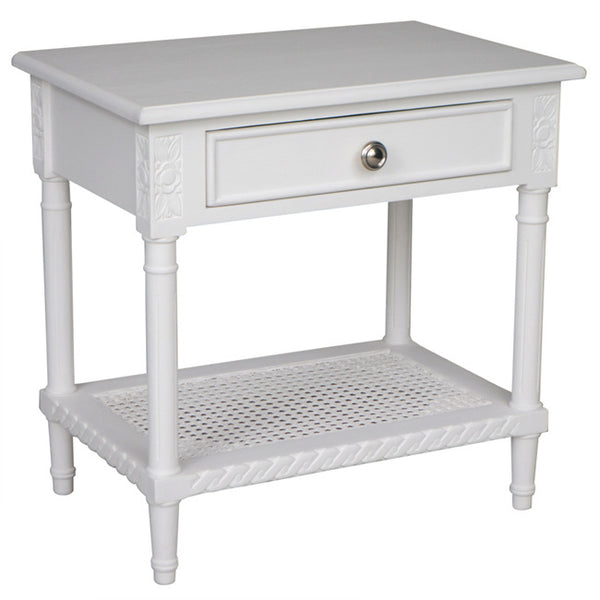 POLO BEDSIDE TABLE - WHITE - Boutique Furniture Direct