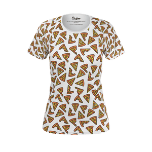 Funny white t shirt with tasty pizza pattern for women and ladies