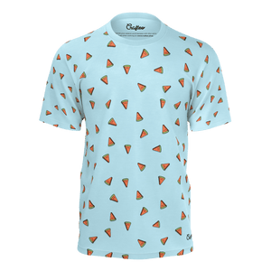 Funny blue t shirt with watermelons pattern for men