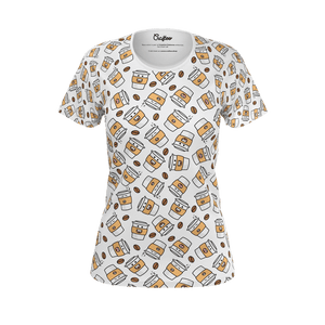 Funny white t shirt with coffe cups pattern for women and ladies