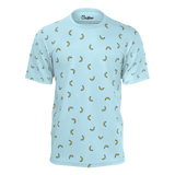 Funny blue t shirt with yellow bananas pattern for women and ladies also suitable for men and boys