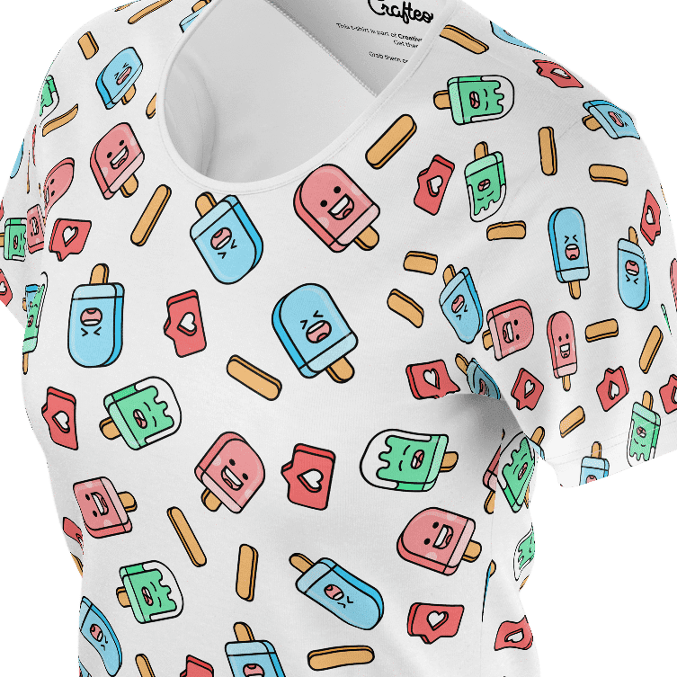 Funny white t shirt with sweet ice creams pattern for women and ladies