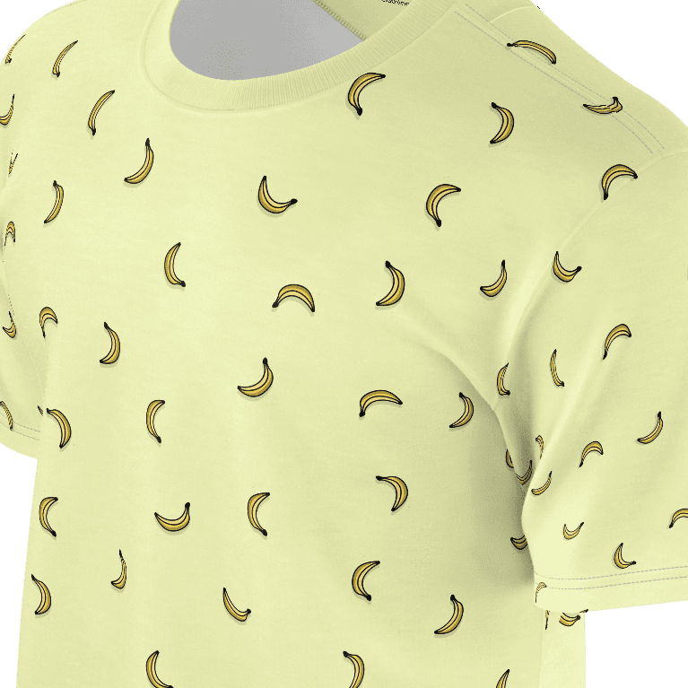 Funny yellow t shirt with yellow bananas pattern for women and ladies also suitable for men and boys