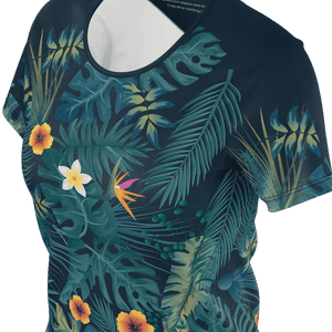 Elegant black t shirt with tropical leafs pattern for women and ladies