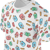Funny white t shirt with sweet ice creams pattern for women and ladies also suitable for men and boys