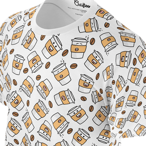Funny white t shirt with coffe cups pattern for women and ladies also suitable for men and boys