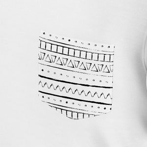 Funny white t shirt with strokes pattern on the pocket for man and women
