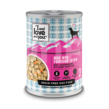 I and Love and You Canned Dog Food Moo Moo Venison Stew