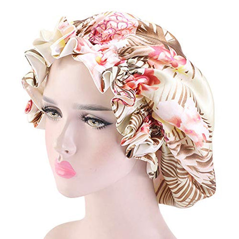 Large Satin Bonnet Cap, Bonnets for Women, Silky Bonnet for Curly Hair, Women Hair Wrap for Sleeping, Double Layers : Beauty