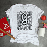 Eighth Grade Typography Word Art Sublimation Transfer