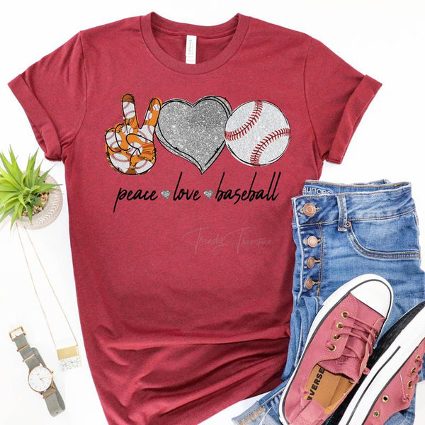 Peace Love Baseball Screen Print Heat Transfer