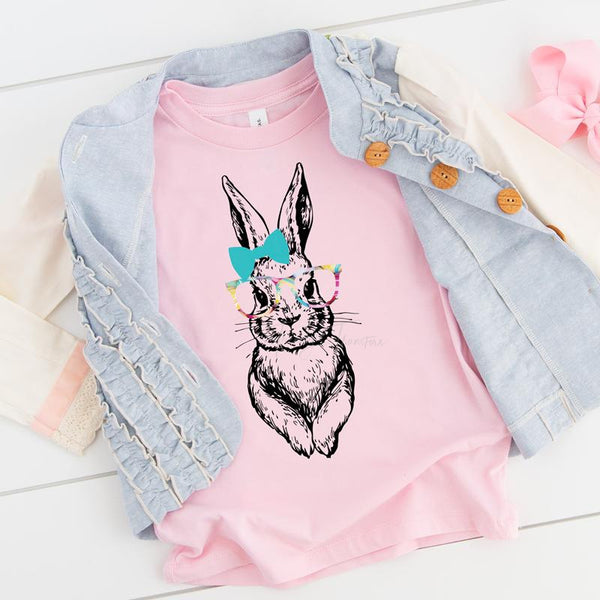 Easter Bunny With Glasses YOUTH Screen Print Heat Transfer
