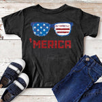 'Merica Sunglasses YOUTH  SHIPS 6/8 Screen Print Heat Transfer
