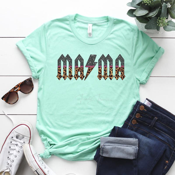 Mama ACDC Leopard Glitter SHIPS 10/26 Screen Print Heat Transfer